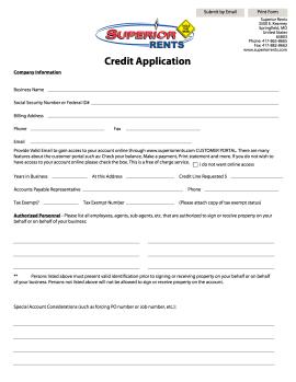 Superior Rents Springfield MO Credit Application