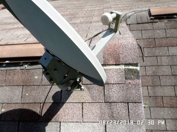 Missing shingle due to wind damage from hail storm in westminster md 21158