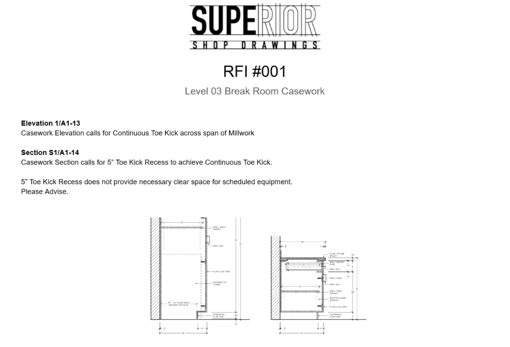 Submitting an RFI for Millwork - 4