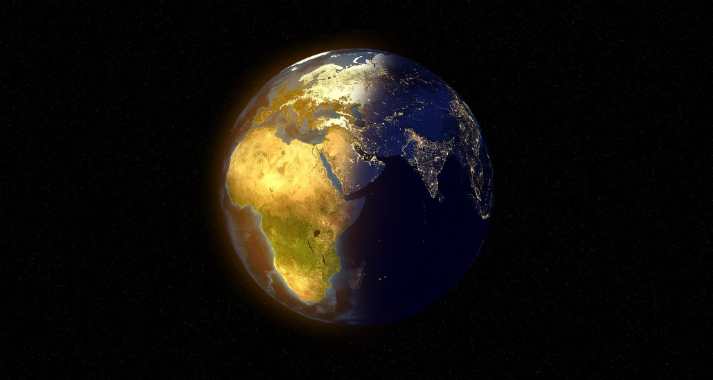 A representation of Earth half in daylight and half in the dark