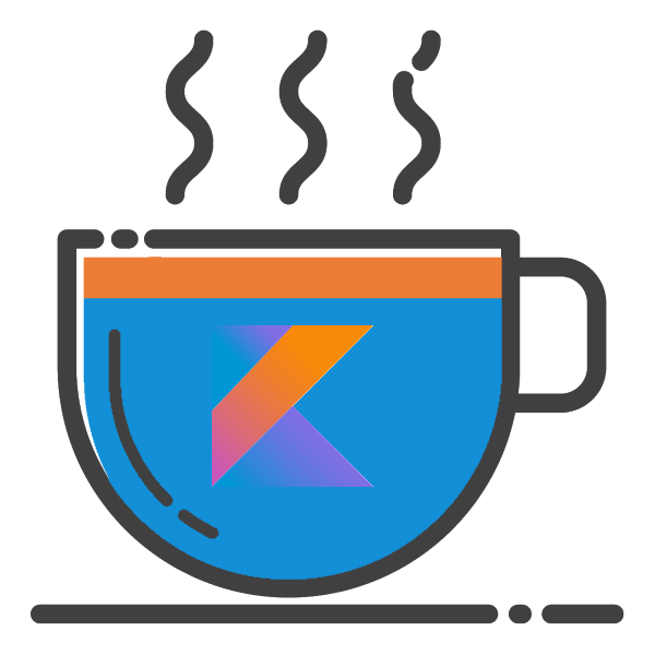 A cup, usually a symbol of Java, with a Kotlin logo