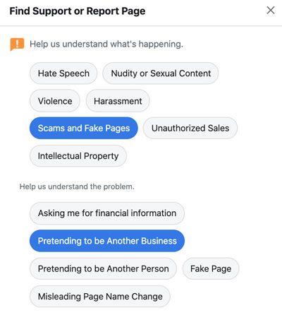 How to identify a fake Facebook scam page