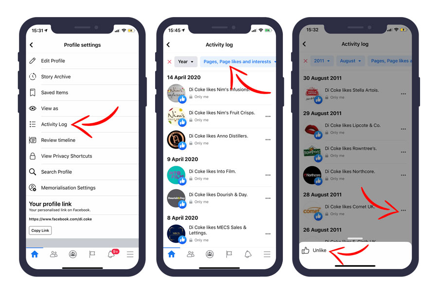How to unlike multiple Facebook pages on mobile