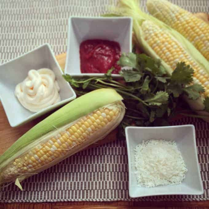 Coconut sweet corn with chili mayo
