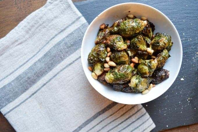 roasted brussel sprouts with pine nuts | superman cooks