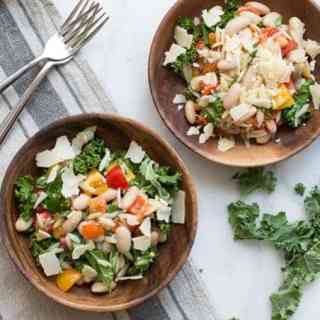 Kale and Orzo Salad with Roasted Peppers