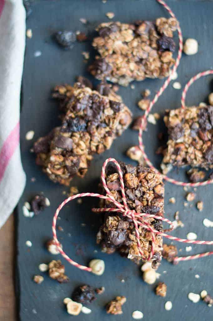 hazelnut, dark cherry & chocolate granola bars   superman cooks