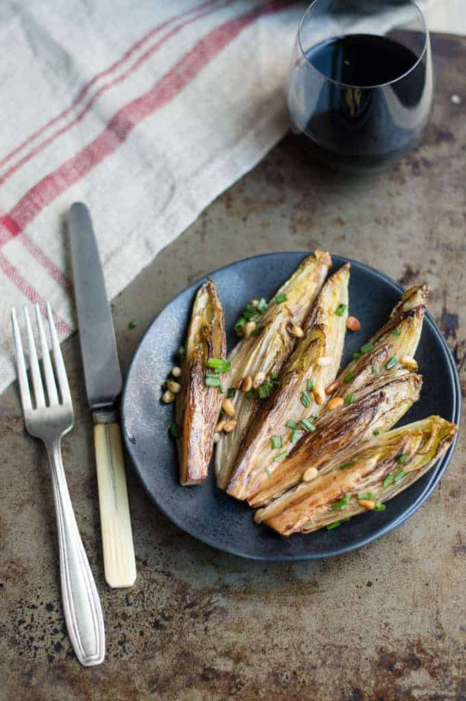 balsamic braised endive with toasted pine nuts | superman cooks