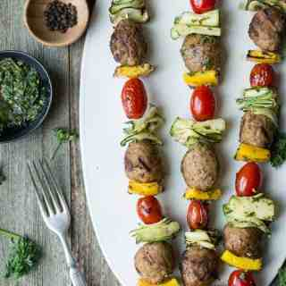 Chicken Meatball Skewers with Mint Chimichurri