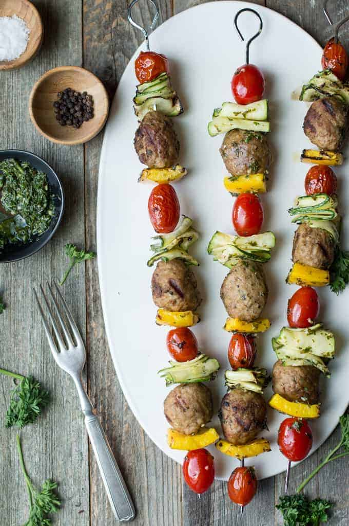 chicken meatball skewers with mint chimichurri | superman cooks