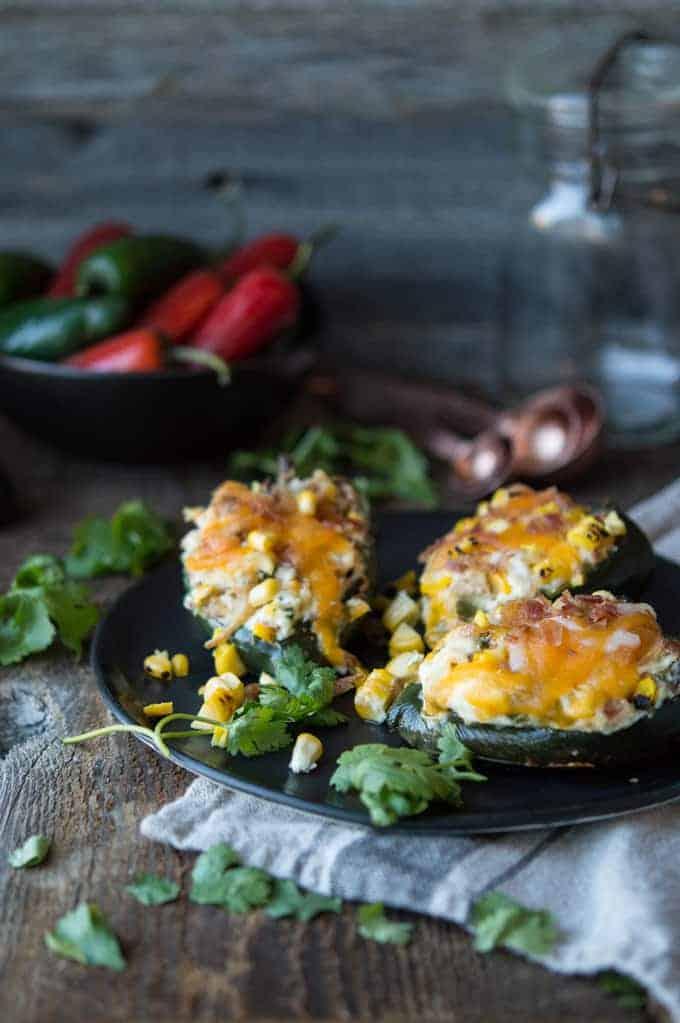 Cheesy Corn-Stuffed Poblano Peppers
