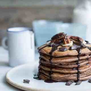 Triple Chocolate Banana Pancakes