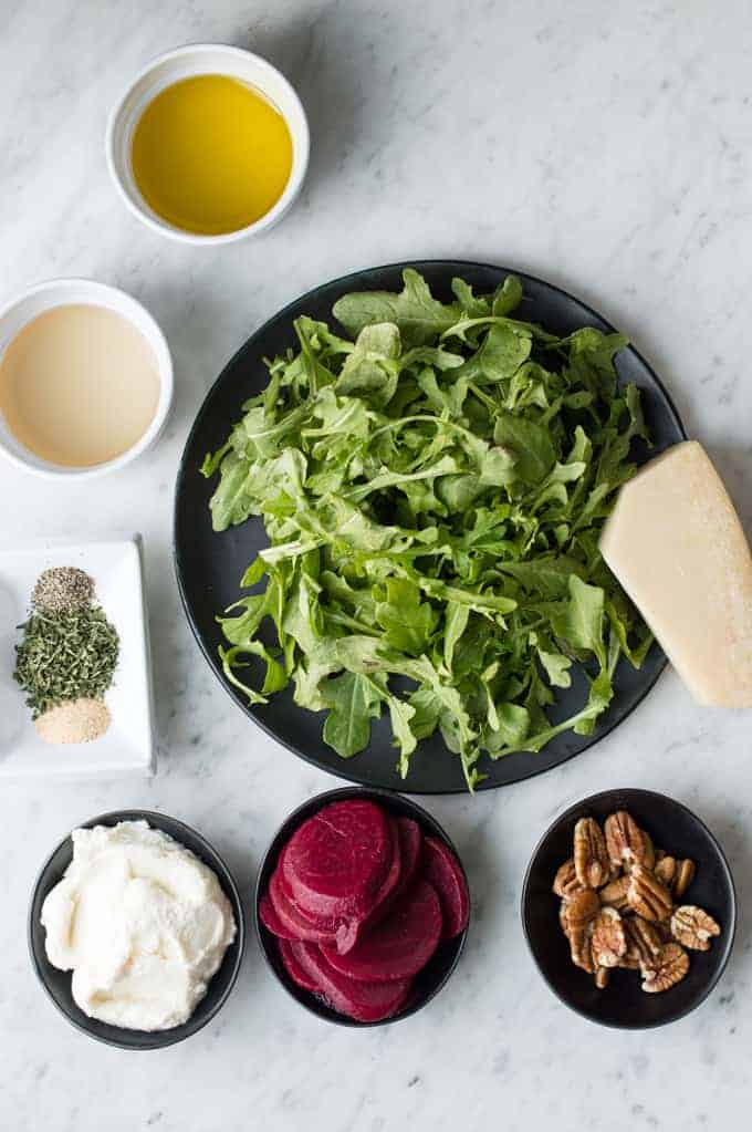 arugula & beet salad with herbed ricotta | superman cooks