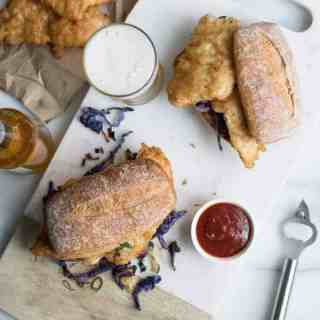 Beer Battered Fish Sandwich with Braised Cabbage