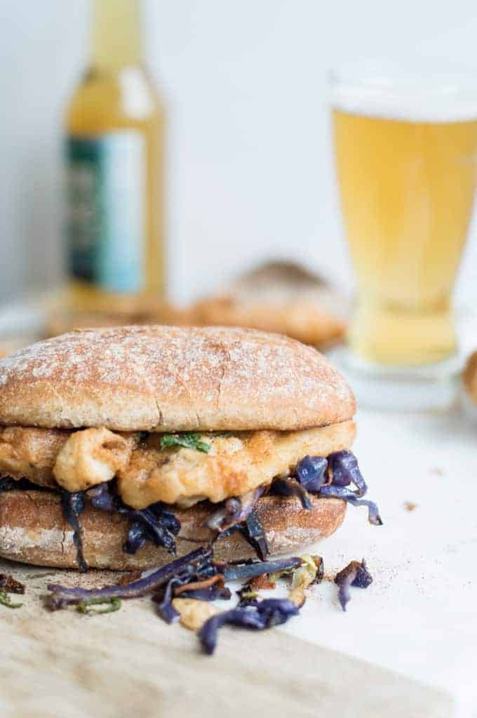 beer battereed fish sandwich with braised cabbage | superman cooks