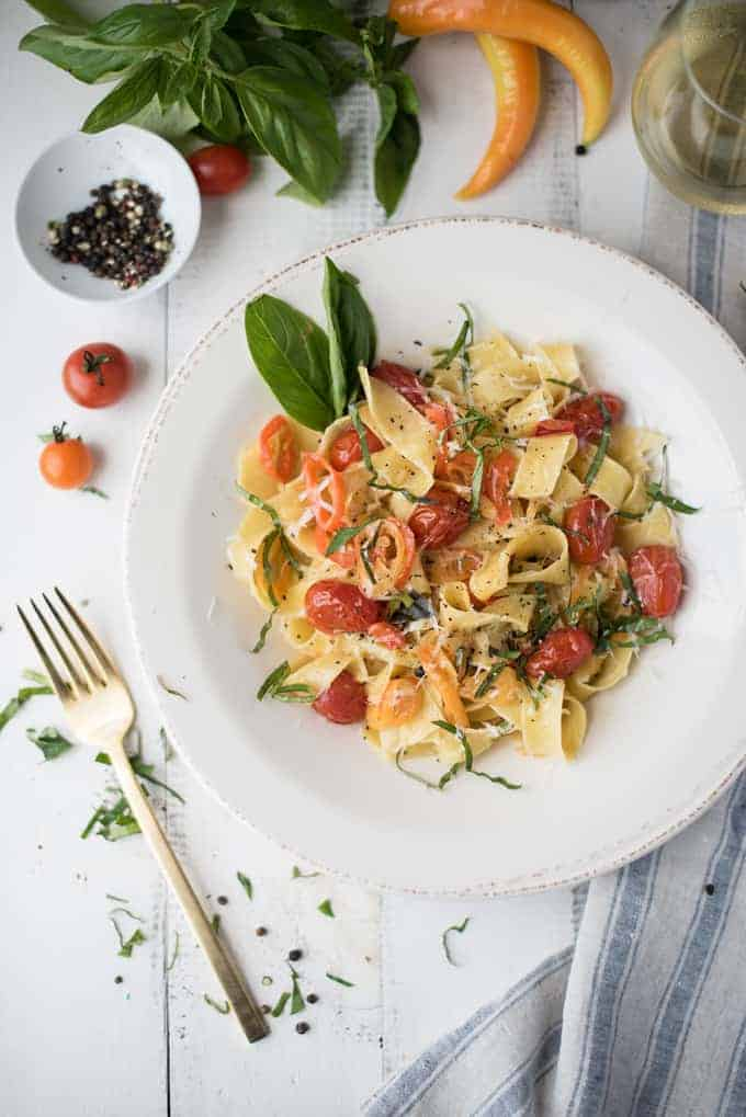 pappardelle with blistered tomatoes & roasted peppers | superman cooks