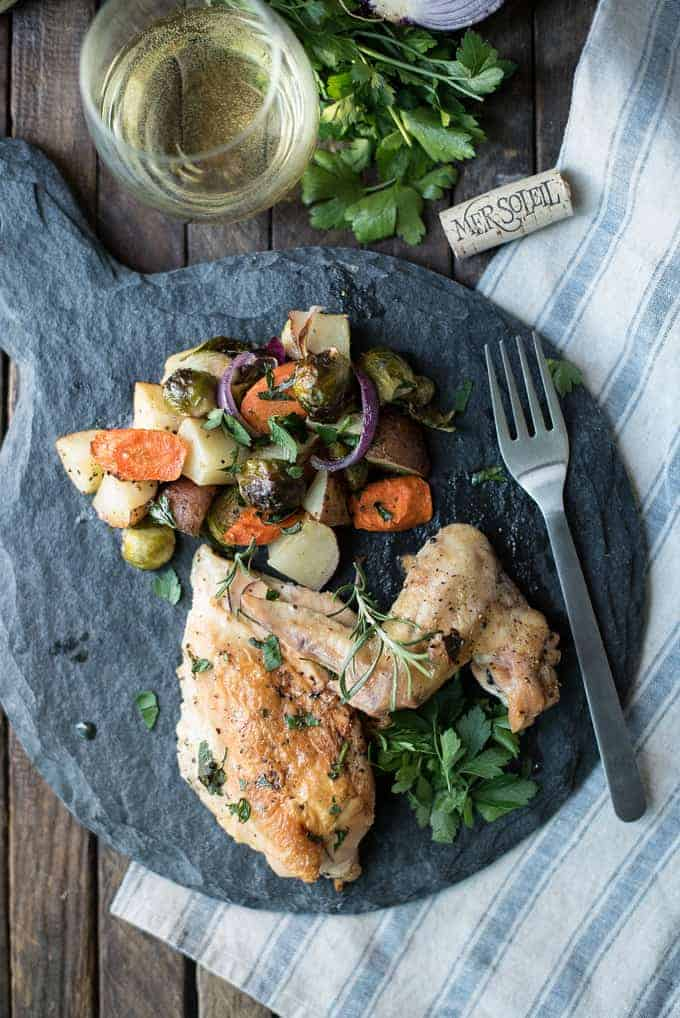 lemony garlic roasted chicken with autumn vegetables | superman cooks