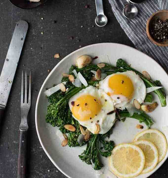 lemon broccolini topped with egg   superman cooks