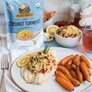 Coconut Turmeric Rice Stuffed Tilapia