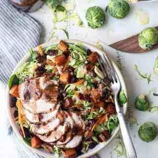 Harvest Brussels Sprouts Bowl with Pork Tenderloin   superman cooks