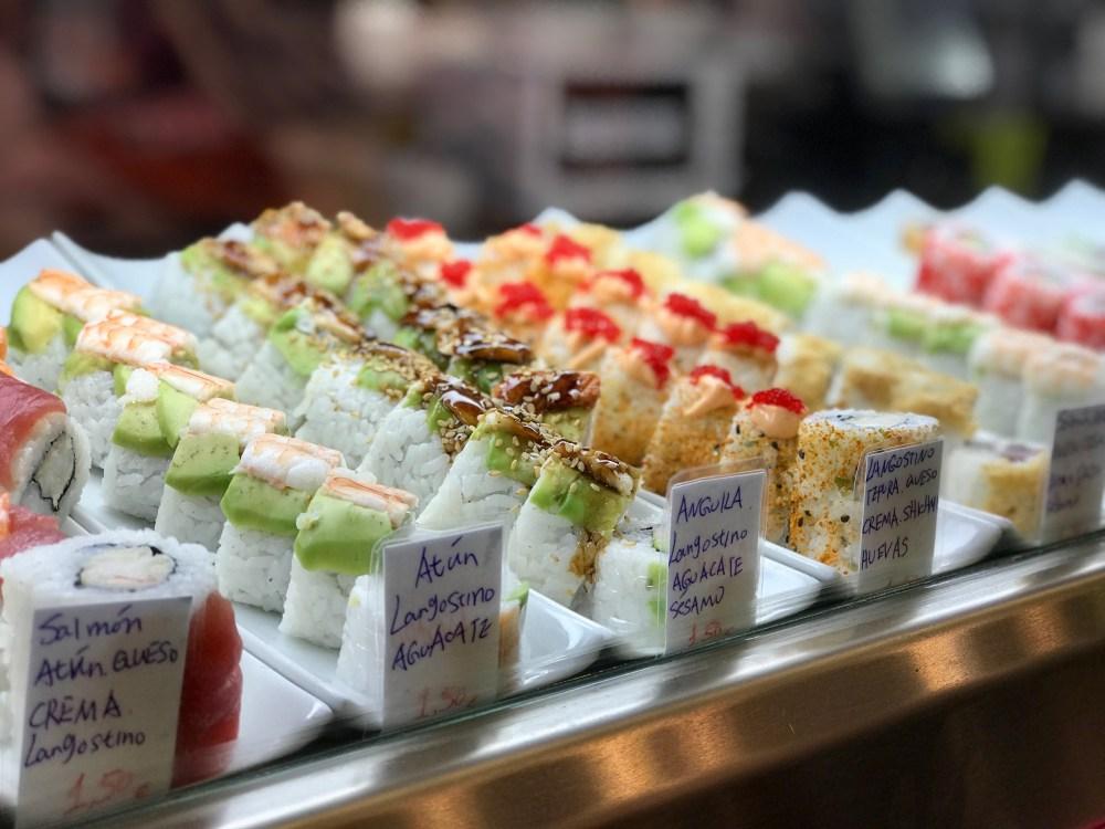Mercat de l'Olivar Palma: Sushi-Auswahl