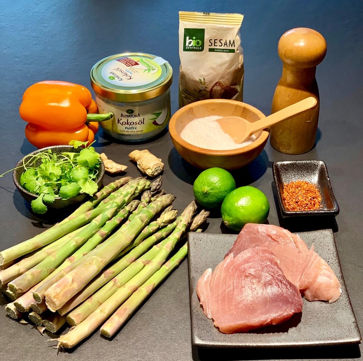 Zutaten für Thunfisch mit Sesamkruste
