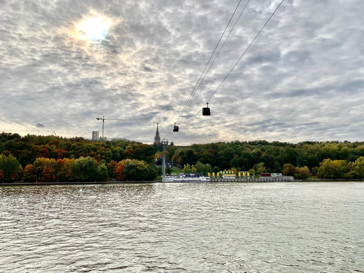 Moskau Seilbahn über Fluß Moskwa