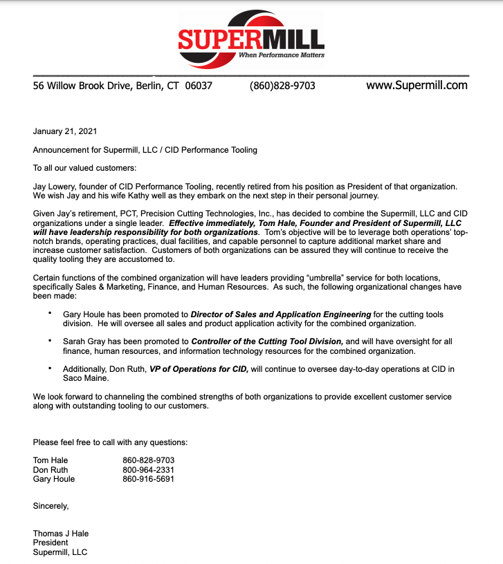 Special Message Letter from Supermill's Tom Hale