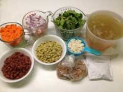 This is my actual pile of ingredients the last time I made this soup.