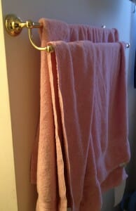 the girls' neatly-hung towels