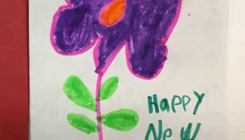 Kimmie made a Happy New Year card for her homeroom teacher, Mr. Hellag.