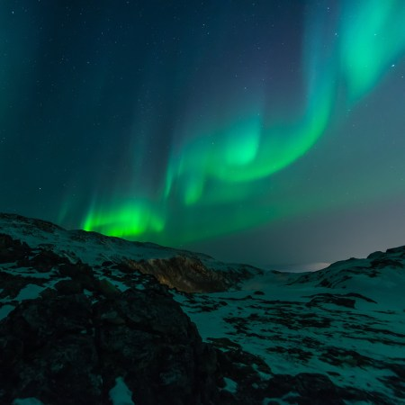 Photo of the Northern Lights, part of the publicity material for the conference on Darkness at Longyearbyen, Svalbard