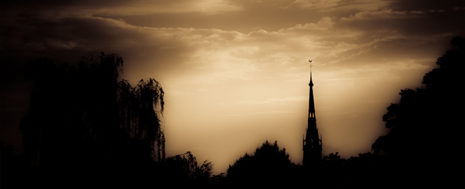 Ominous silhouette of a late XIX century gothic church located in Hilversum