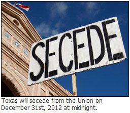 Texas to secede from Union