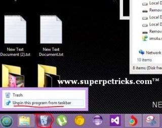 unplug recycle bin from taskbar