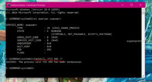 stop windows update through command prompt