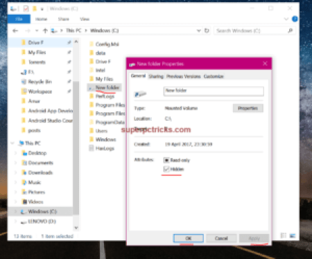 how to hide recovery drive in windows 10