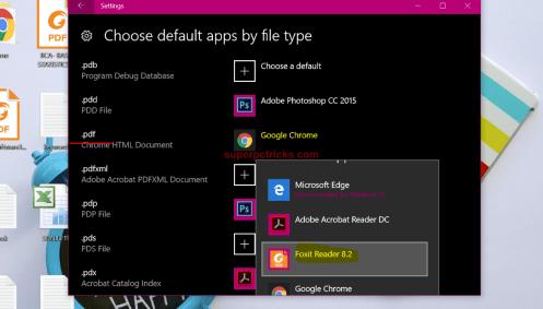 change default PDF Reader in Windows 10