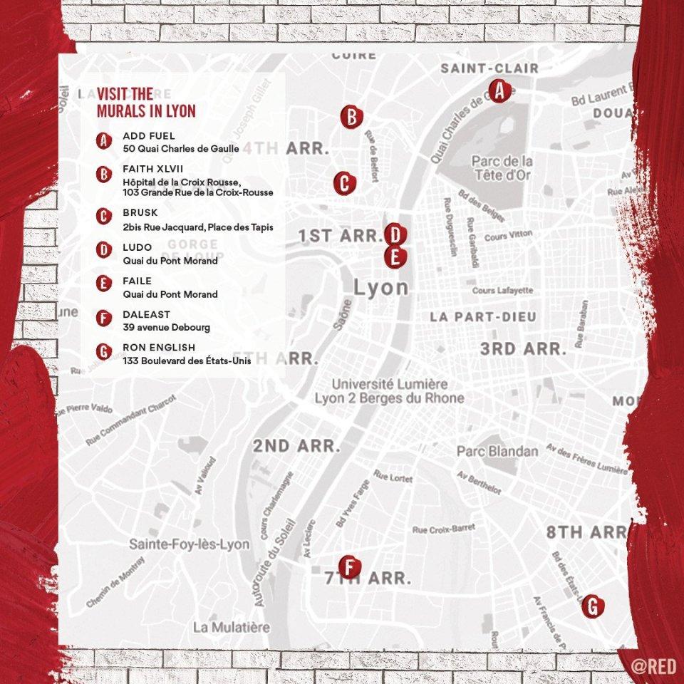 carte recensant les différents lieux où se trouve les fresques dans Lyon