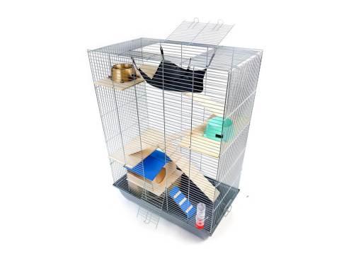 Klatka dla gryzonia Mega4 z domkiem piętrowym, drewniane wyposażenie, szara kuweta