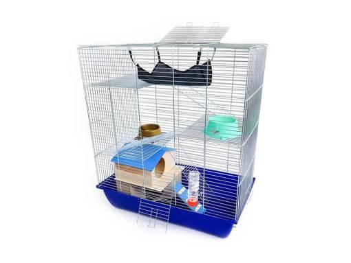 Klatka dla gryzonia Mega3 z domkiem piętrowym, metalowe wyposażenie, niebieska kuweta