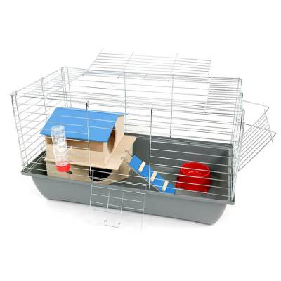 Klatka dla królika lub świnki morskiej 70cm zdomkiem piętrowym