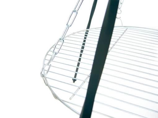 Grill ogniskowy wiszący na trójnogu z rusztem okrągłym