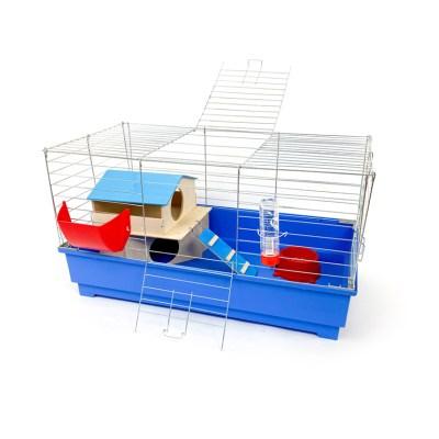 Klatka dla królika 80 cm zdomkiem piętrowym błękitna