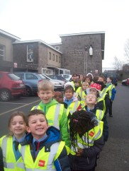 We put on our high visibility jackets to keep safe on the walk