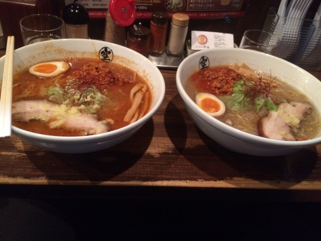 Spicy Miso Ramen. On the left Kara Sewa 3 and on the right Kara Sewa 2