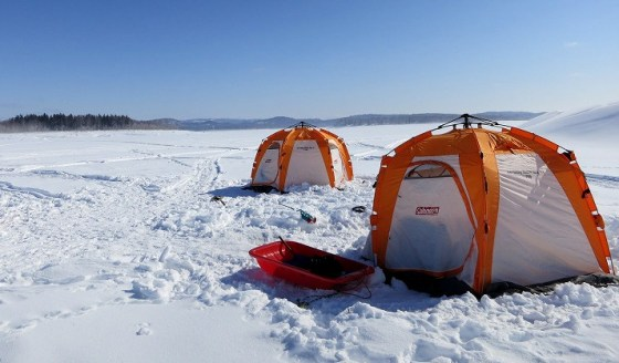 lake shumarinai ice fishing