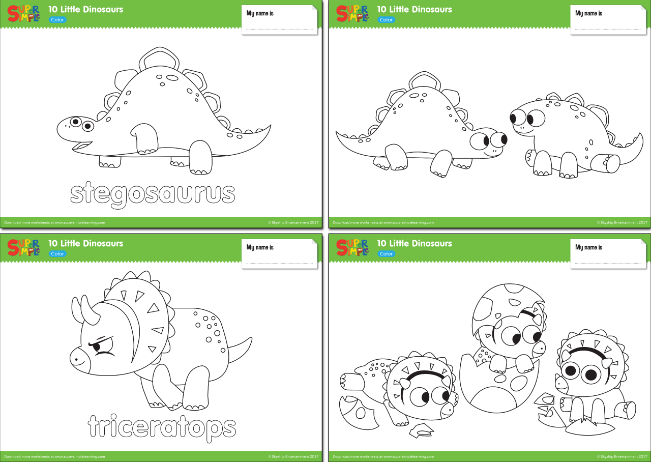 10 Little Dinosaurs Worksheets