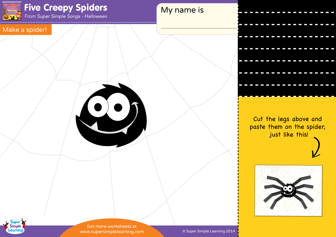Five Creepy Spiders Worksheet