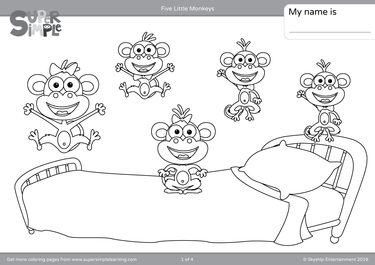Five Little Monkeys Coloring Pages